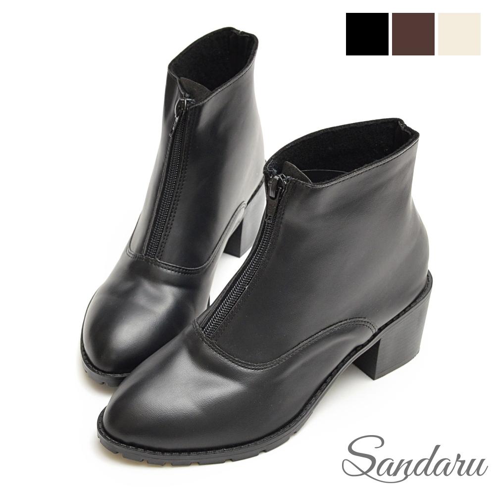 山打努SANDARU-短靴 前拉鍊簡約皮革粗跟靴-黑
