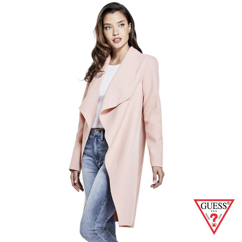 GUESS-女裝-時尚翻領大衣外套-粉 原價3990