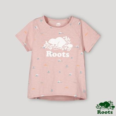 Roots女裝-海洋友善系列 海洋印花寬短版T恤-粉橘色