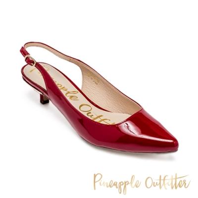 Pineapple Outfitter 完美比例 絨面後繫帶跟鞋-鏡紅色