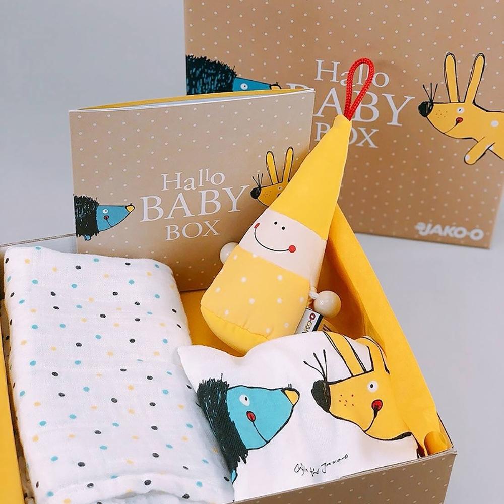 JAKO-O 德國野酷 寶貝新生禮盒組(彌月/寶寶包臀衣/安撫玩偶/布巾)