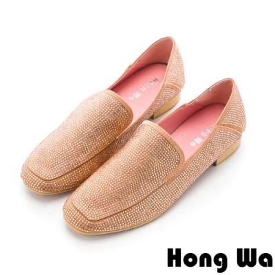 Hong Wa (偏小)時尚水鑽絨布休閒方頭樂福鞋 - 玫瑰金