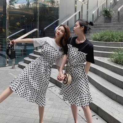 IMStyle 復古假兩件拼接連身裙 (2色-白色、黑色)