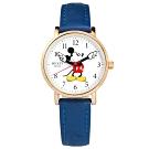 Disney 迪士尼 米奇手指針 米妮 兒童卡通 真皮手錶-白x玫瑰金框x藍/29mm