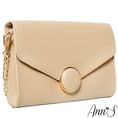 Ann'S都會時髦-質感金邊圓釦信封小方包-杏