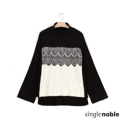 獨身貴族 氣質羊毛氈蕾絲針織上衣(1色)