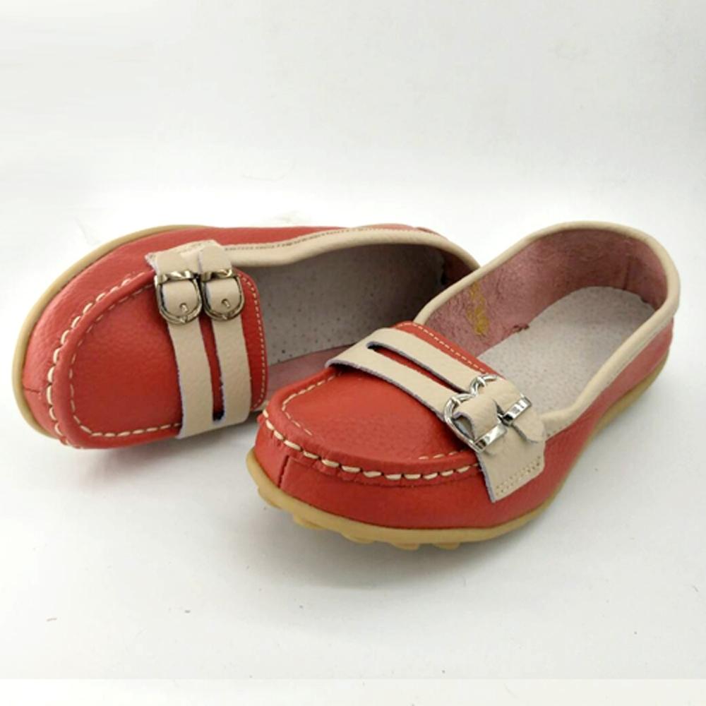 韓國KW美鞋館-(現貨)雙色樸素雙扣造型真皮鞋(共2色) (紅)