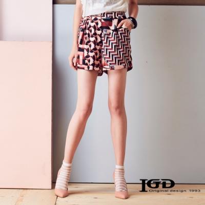 IGD英格麗 幾何錯位印花短褲-紅色