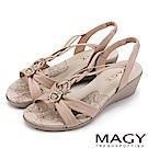 MAGY 夏日甜心 圓形鑽飾麻編牛皮涼鞋-粉色