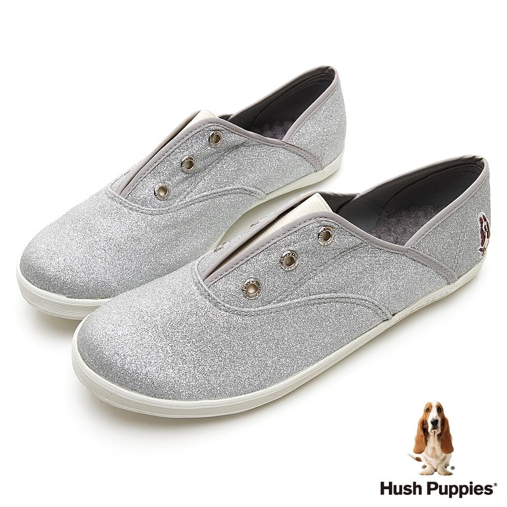 Hush Puppies 閃耀咖啡紗懶人帆布鞋-銀色
