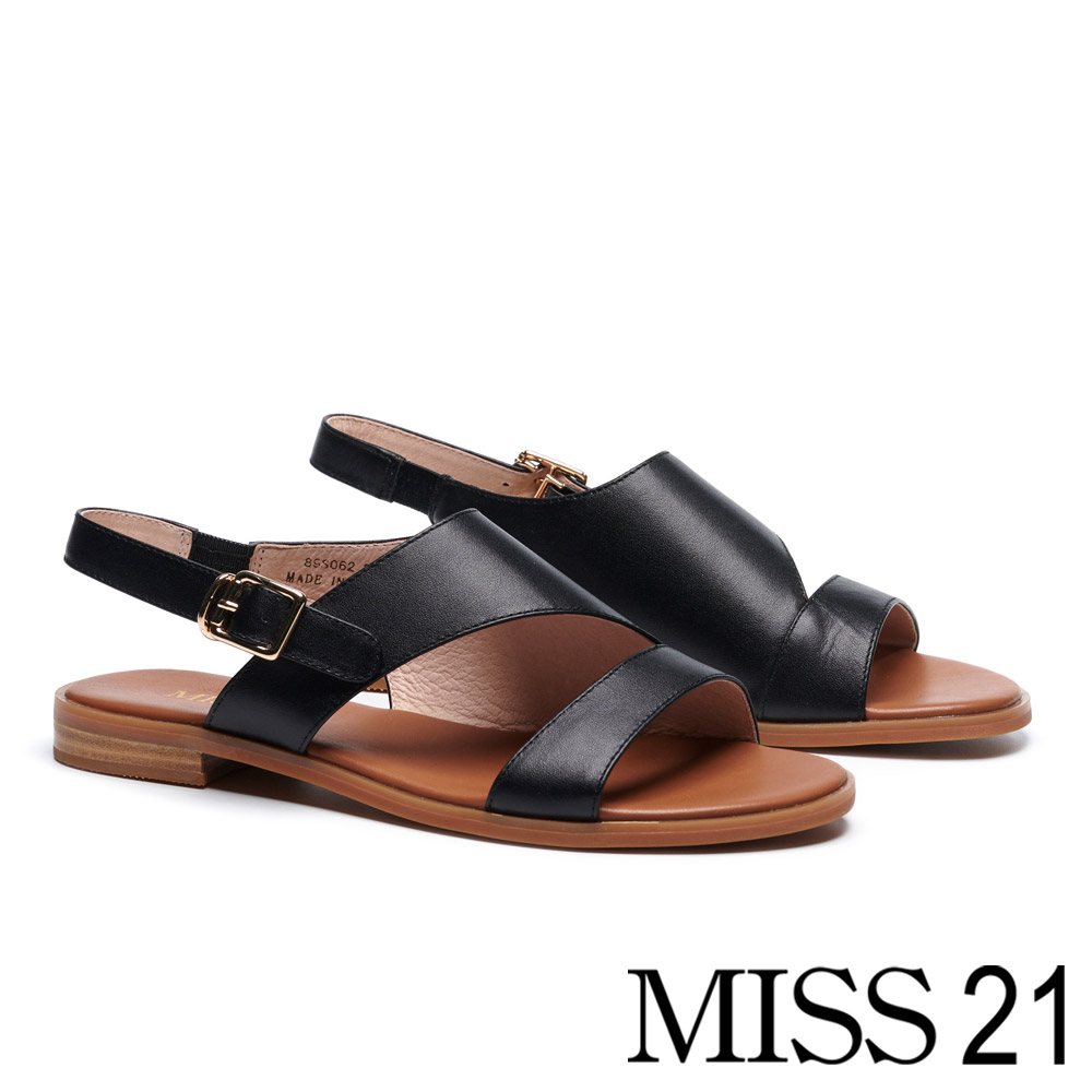 涼鞋 MISS 21 率性俐落剪裁真皮低跟涼鞋-黑