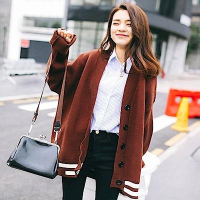 La BellezaV領五釦下擺白色滾邊配色羅紋領邊針織毛衣長版外套