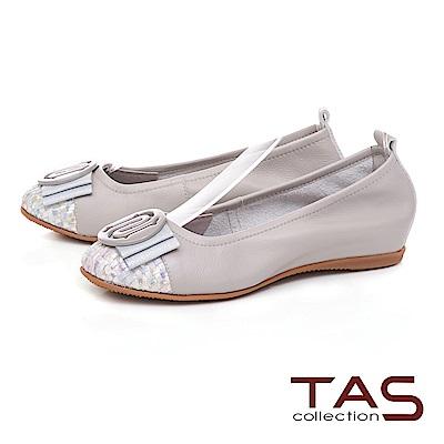 TAS 圓飾蝴蝶結炫彩編織格紋娃娃鞋-成熟灰