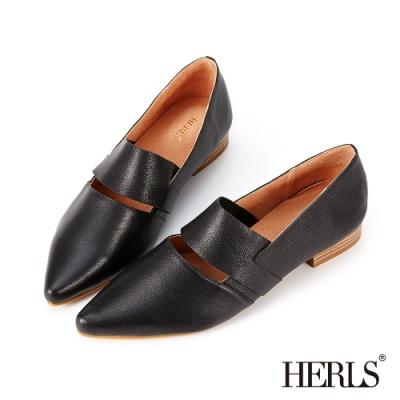 HERLS樂福鞋-全真皮橫帶鏤空尖頭低跟鞋樂福鞋-黑色