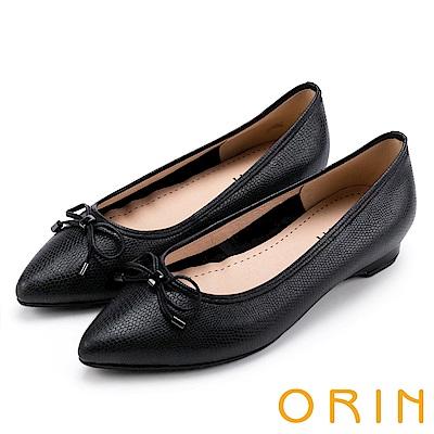 ORIN 典雅輕熟OL 牛皮百搭尖頭低跟鞋-壓紋黑