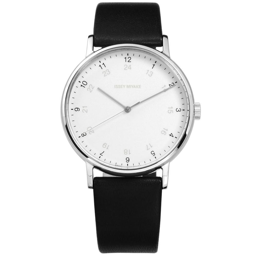 ISSEY MIYAKE 三宅一生 F系列 數字時標日本製造尼龍手錶-白x黑/39mm