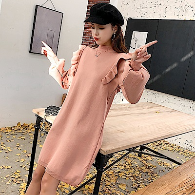 DABI 韓國風圓領燈籠袖荷葉肩毛衣針織長袖洋裝