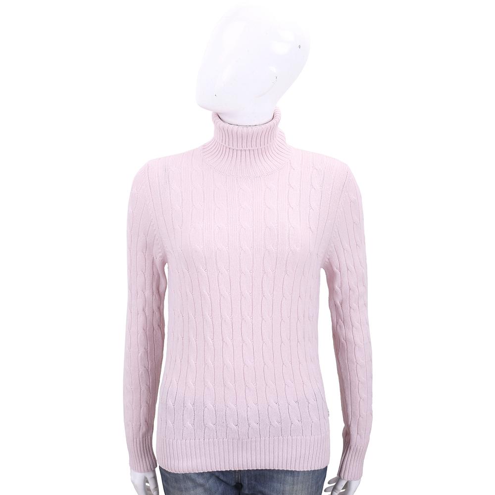 Andre Maurice 喀什米爾麻花織紋粉色高領羊毛衫