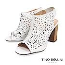 Tino Bellini 巴西進口綻放花火鏤空皮雕高跟魚口涼鞋 _ 白