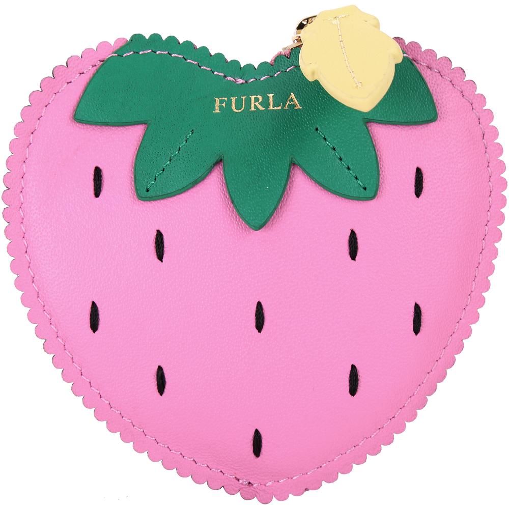 FURLA GOLOSA 粉紅草莓皮革零錢包