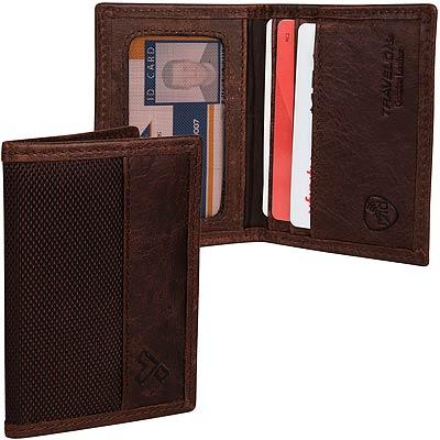 TRAVELON RFID拼接證件夾(咖網紋)