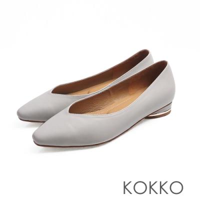 KOKKO -素面小方頭羊皮V口圓跟鞋 - 藍色