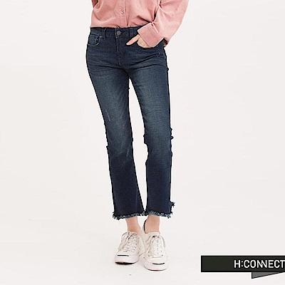 H:CONNECT 韓國品牌 女裝 - 刷色流蘇喇叭牛仔褲-藍(快)