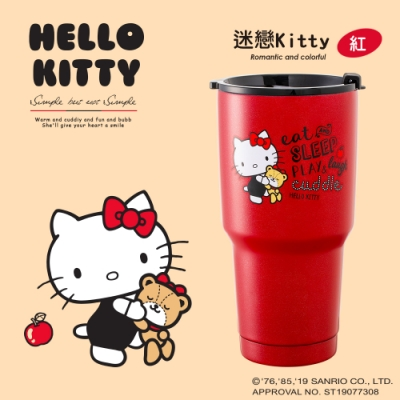 Hello Kitty 陶瓷真空保冷保溫杯900ML三麗鷗-迷戀Kitty(紅)