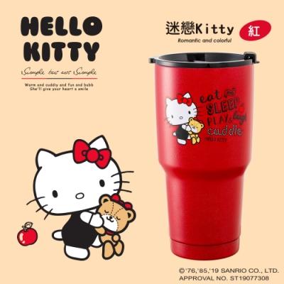 HELLO KITTY 三麗鷗授權 陶瓷真空不鏽鋼保冷保溫杯900ML-迷戀Kitty(紅)(快)