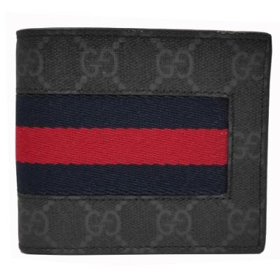 GUCCI 經典GG Supreme系列GG印花藍紅藍織帶折疊短夾(黑灰色)