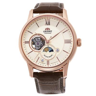 ORIENT東方SUN&MOON日月相真皮機械錶手錶RA-AS0003-玫瑰金框/42mm