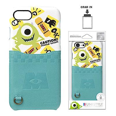 iPhone 8/7 迪士尼 皮革背蓋口袋 硬殼 4.7吋-大眼仔