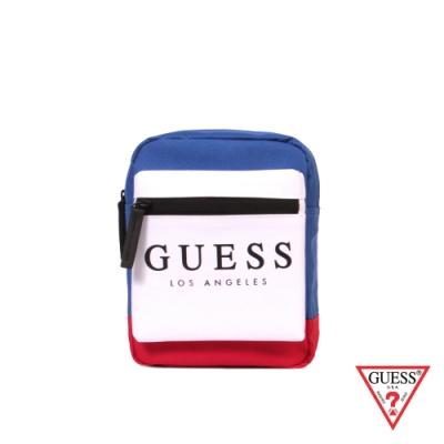 GUESS-男包-時尚撞色經典LOGO迷你斜背包-藍