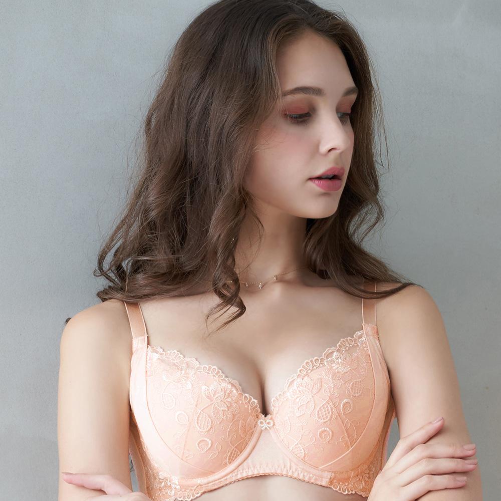 推EASY SHOP-愛戀花鏡 大罩杯B-E罩內衣(清恬橙)