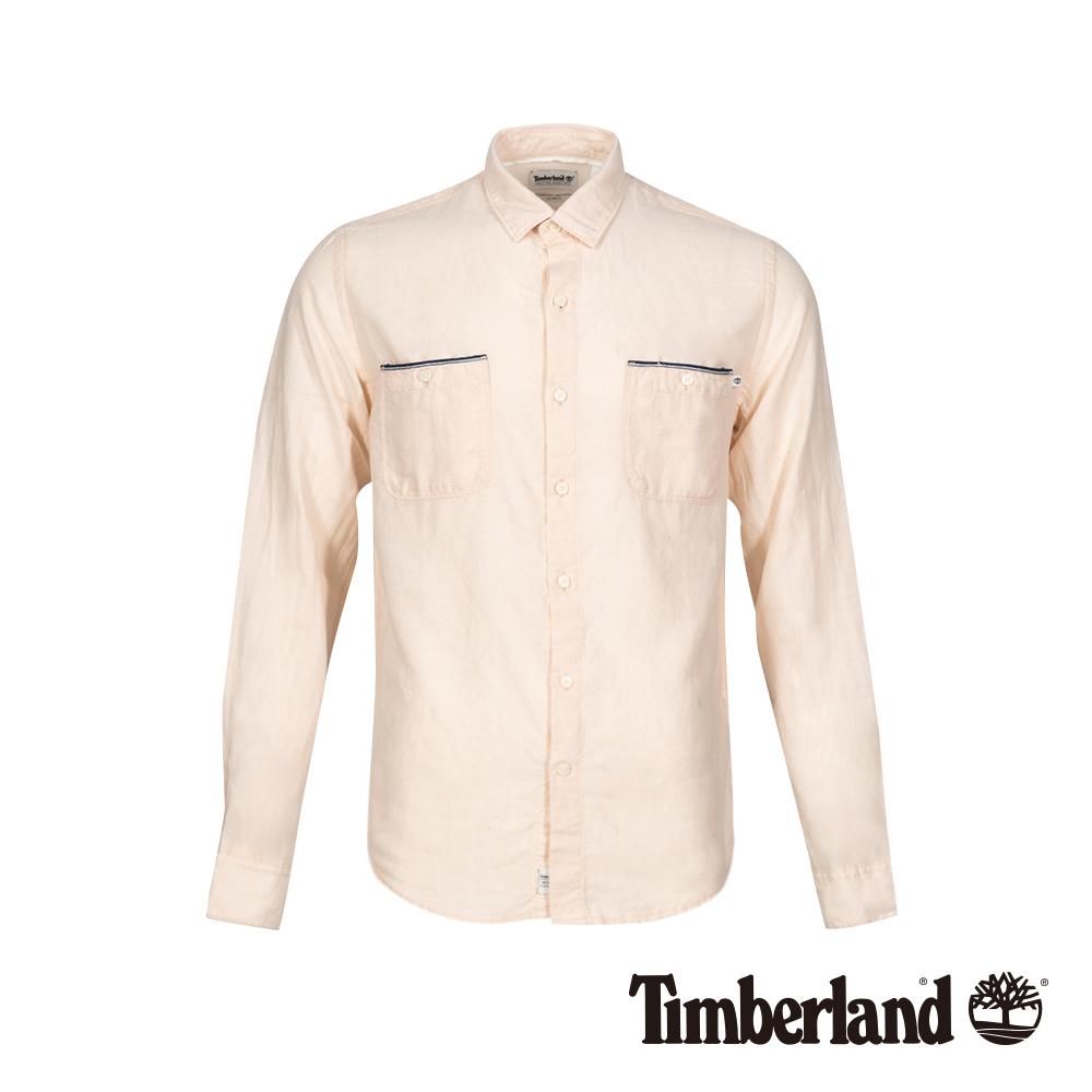 Timberland 男款淡紅色修身亞麻收納式長袖襯衫 A1WRC