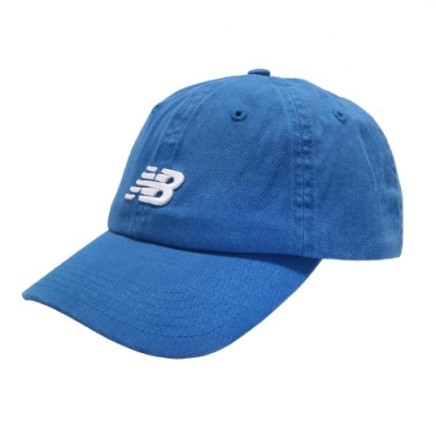 New Balance 老帽 Logo Baseball Cap 男女款 紐巴倫 基本款 運動休閒 遮陽 穿搭 藍 白 LAH91014CO