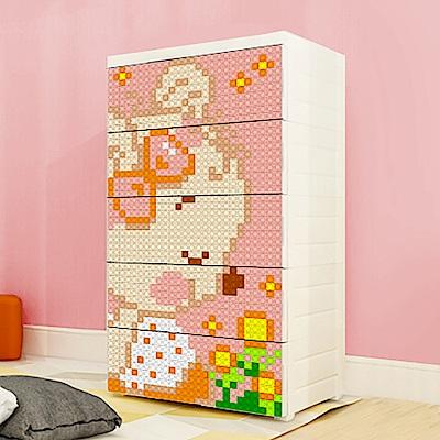 【魔法腳印】童趣益智積木拼圖五層玩具收納櫃-粉紅熊(拆開即用 免組裝)