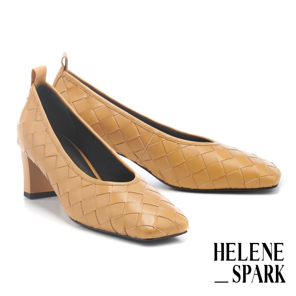 高跟鞋 HELENE SPARK 簡約量感編織造型羊皮方頭高跟鞋-黃