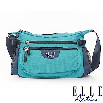 ELLE Active 格紋系列-彎月型側背包/斜背包-大-藍綠色