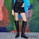 【YIDIE衣蝶】素色厚羊毛外車線短褲裙-黑