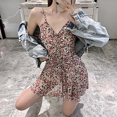 DABI 韓國風碎花抽繩褶皺V領吊帶無袖洋裝