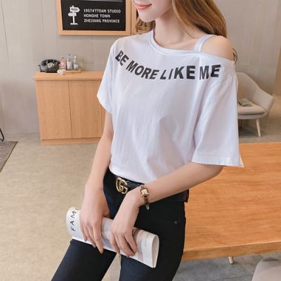 2F韓衣-簡約流線印花露肩造型上衣-白色-認(S-L)