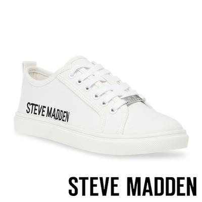 STEVE MADDEN-SUBURBIA 素面綁帶平底帆布鞋-白色