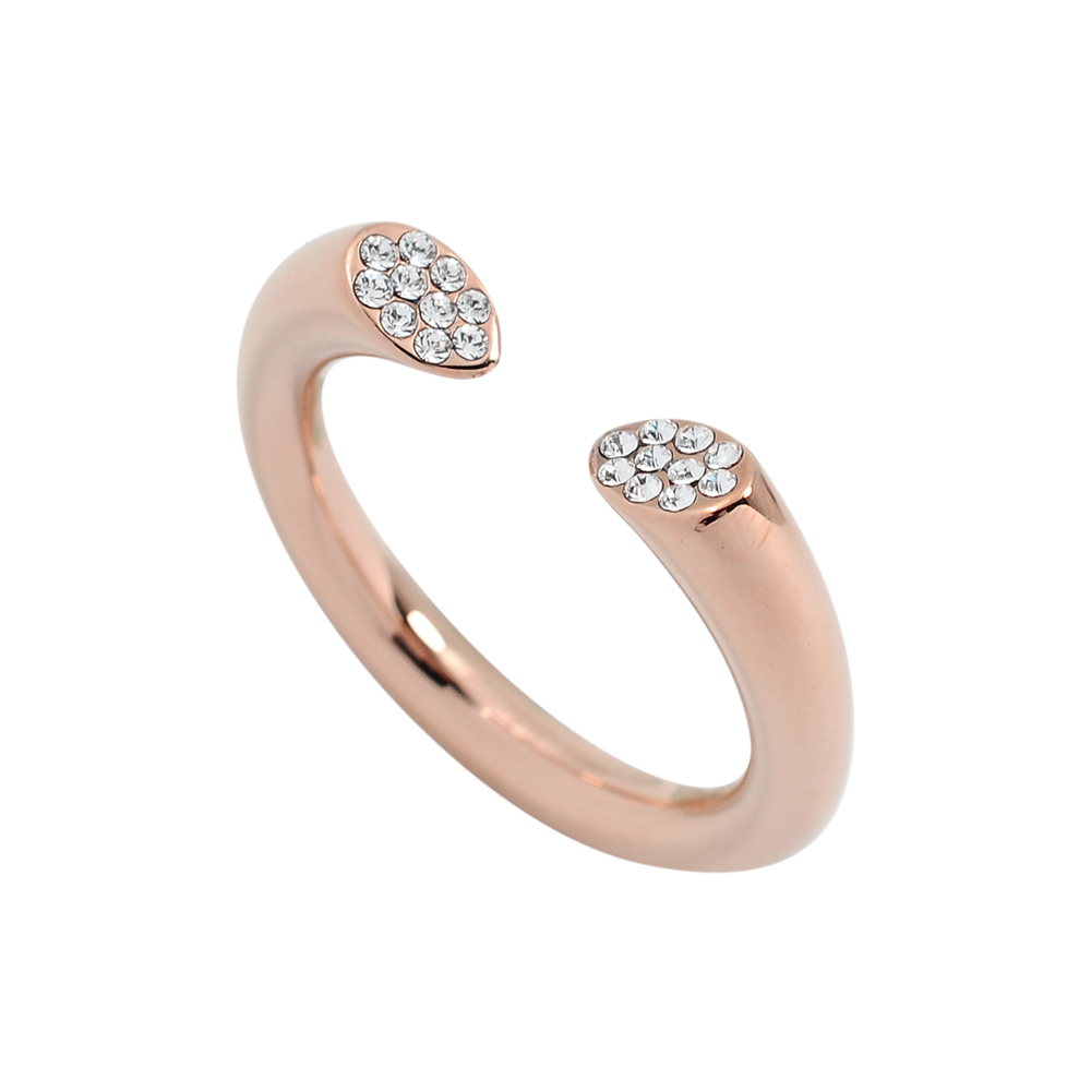 Calvin Klein CK BRILLIANT簡約開口式水晶玫瑰金戒指