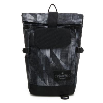 PLAYBOY- 單肩背包亦可做後背包 lifestyle系列-灰色