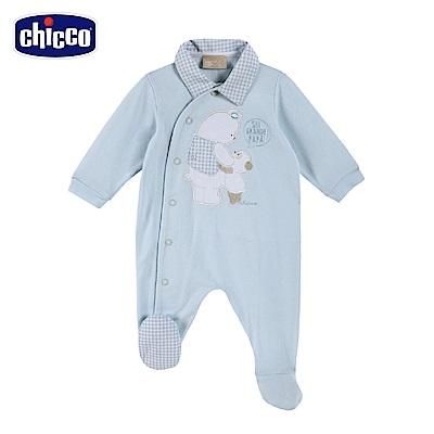 chicco-藍格熊-有領側開長袖兔裝-藍