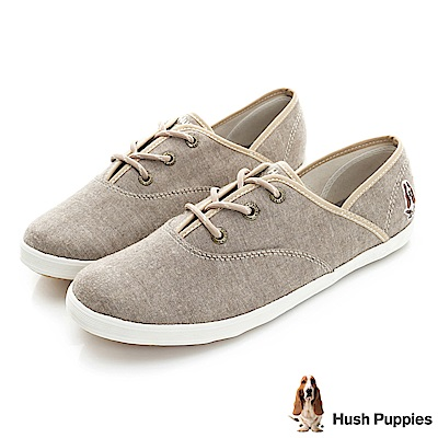 Hush Puppies 文青毛呢咖啡紗帆布鞋-褐色