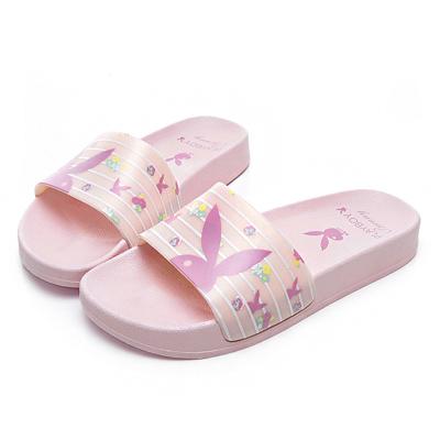 PLAYBOY 花卉繽紛橫紋休閒拖鞋-粉-YT50599
