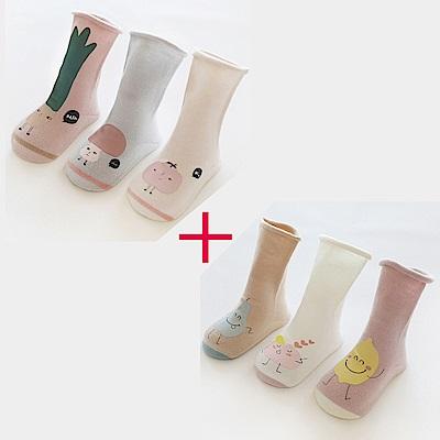 秋冬嬰兒寶寶卡通長筒襪6入組-二款可選