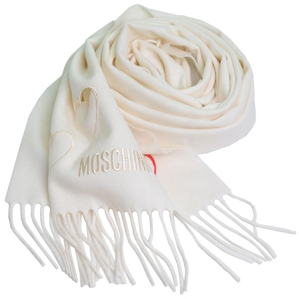 MOSCHINO 義大利製美麗諾羊毛繽紛愛心刺繡圖騰字母LOGO刺繡披肩/圍巾(米白色) @ Y!購物